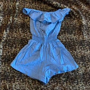Blue tube-top romper with pockets (!)